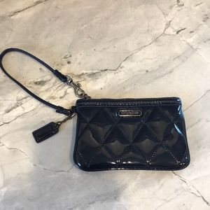 COACH Navy  Quilted Patent Leather Wristlet